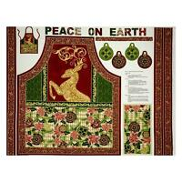 Peace On Earth Christmas Metallic Apron 100% Cotton Canvas Fabric By The Panel