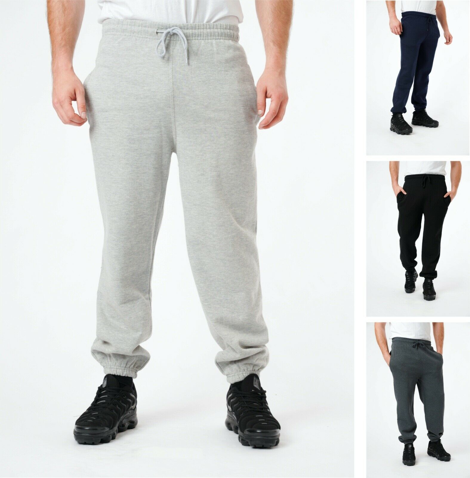 Mens Fleece Joggers Elasticated Cuffed Jogging Bottoms Track Pants Trousers