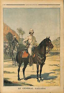 TROUPES-COLONIALES-GENERAL-GALLIENI-A-CHEVAL-MADAGASCAR-1899
