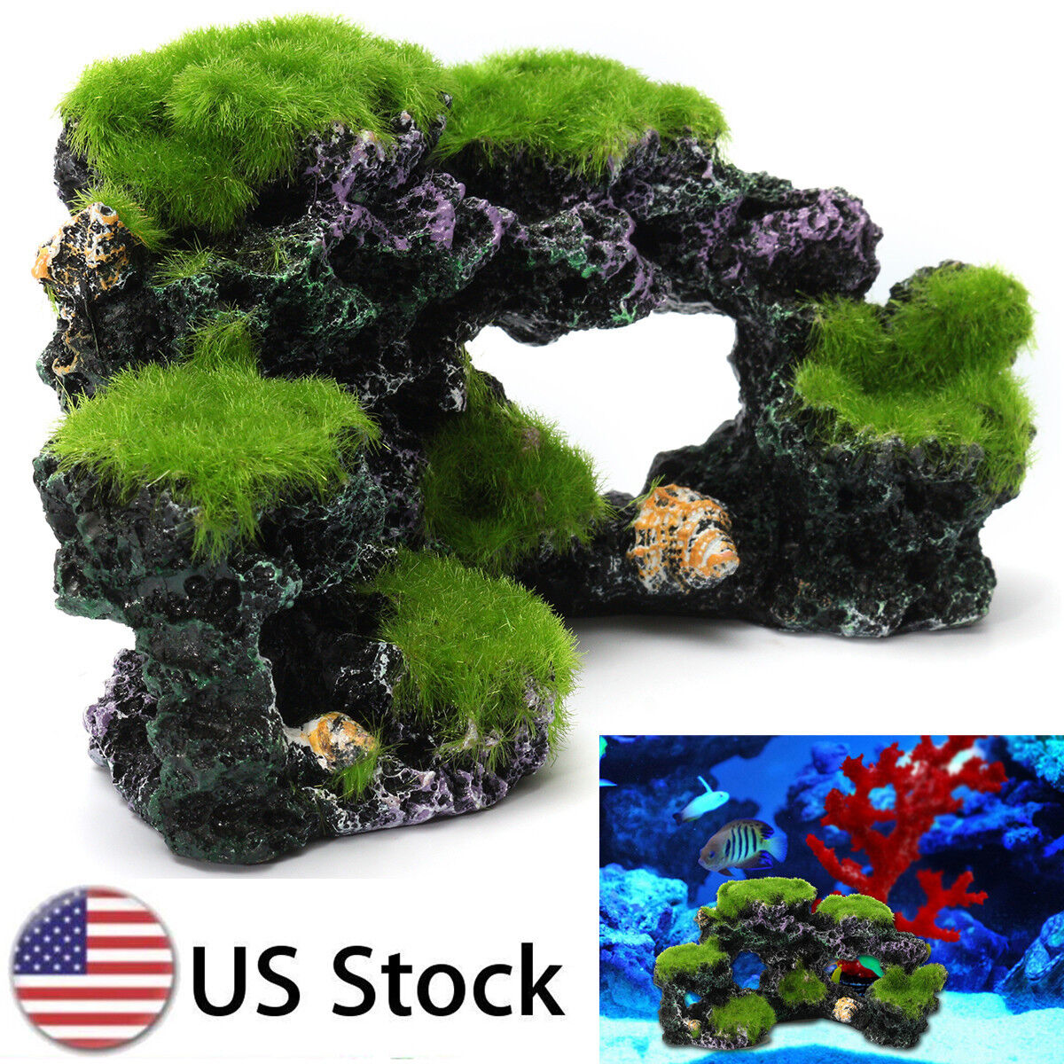 Aquarium Coral Reef Moss Rock Fish Tank Decor Through Pass Island Ornament Cave