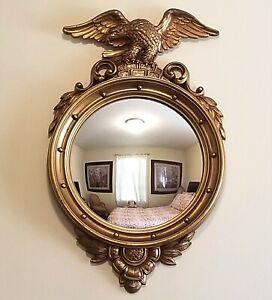 "Vintage Federal Eagle Convex Round Bullseye Wall Mirror Frame 29 x 17"""