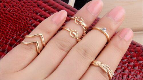 6 Pcs Knuckle Midi Ring Fashion Jewellry Rings Set  Chain Rings Women in GOLD UK