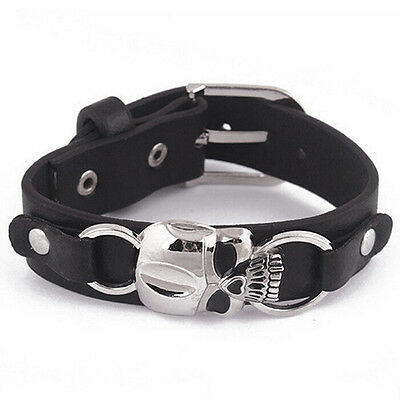 Mens-Faux-Leather-Bracelet-Punk-Cuff-Skull-Wristband-Jewelry-Charms-Natural