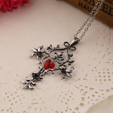 The Vampire Diaries Necklace Vintage Cross Pendant Red Heart Gothic Jewellery