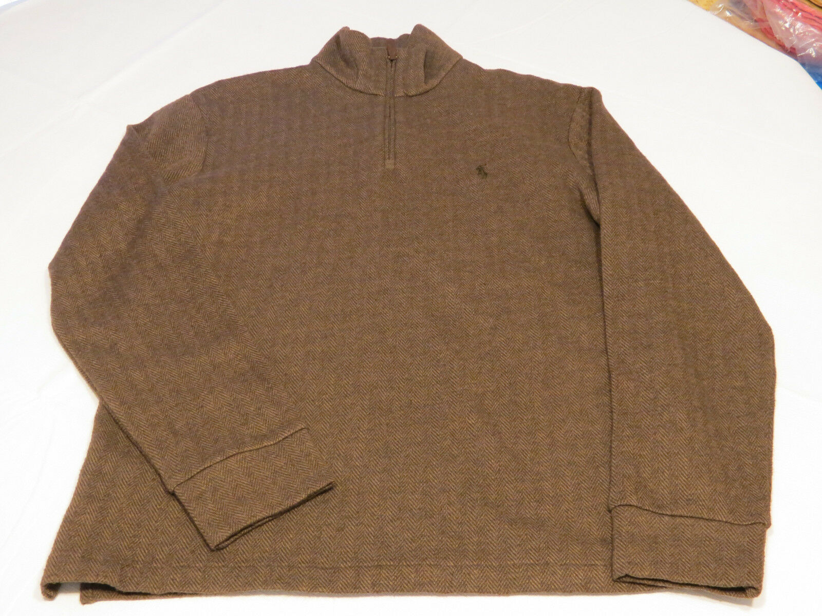 Polo Ralph Lauren 1 4 zip long sleeve shirt S small Mens brown fleece zig zag