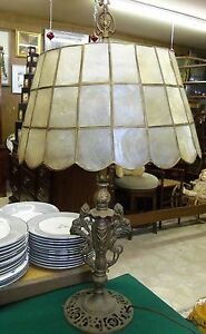Antique Old Pull Chain Table Lamp W Capiz Shell Shade B16
