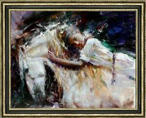 Oil-painting-original-Art-Impressionism-Portrait-girl-horse-on-canvas-30-034-x40-034