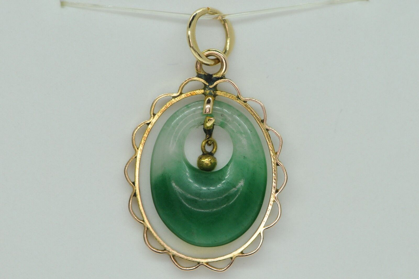 Art Deco Style (ca. 1935) 14K Yellow gold Jade Pendant