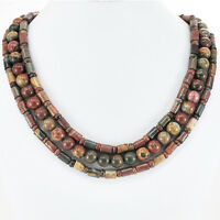 Ny6design 3 Strands Natural Picasso Jasper Beads Copper Toggle Necklace 17-19