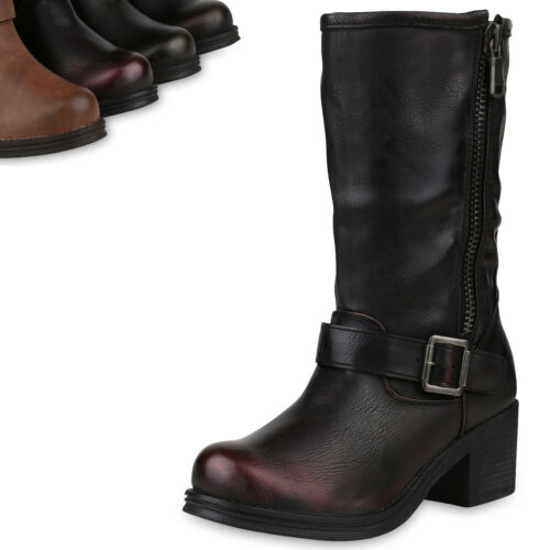 Damen Bikerstiefel Leder-Optik Stiefel Blockabsatz Boots Zipper 820207 Top