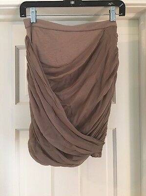 ALICE + OLIVIA Base Stretch Rayon & Silk Draped Mini Skirt Bodycon Taupe Sz XS