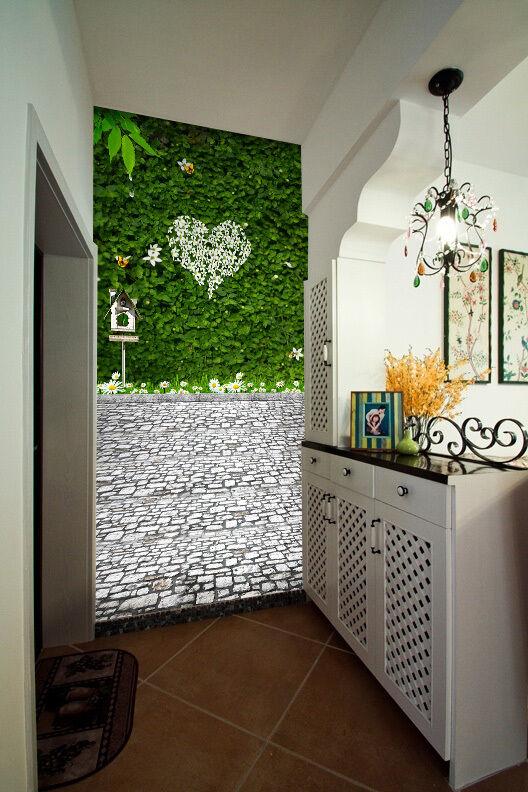 3D whitee liebe, greene Pflanze Fototapeten Wandbild Fototapete BildTapete Familie