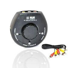 3 Way Audio Video AV Signal RCA Switch TV Selector Box Splitter for DVD Camera