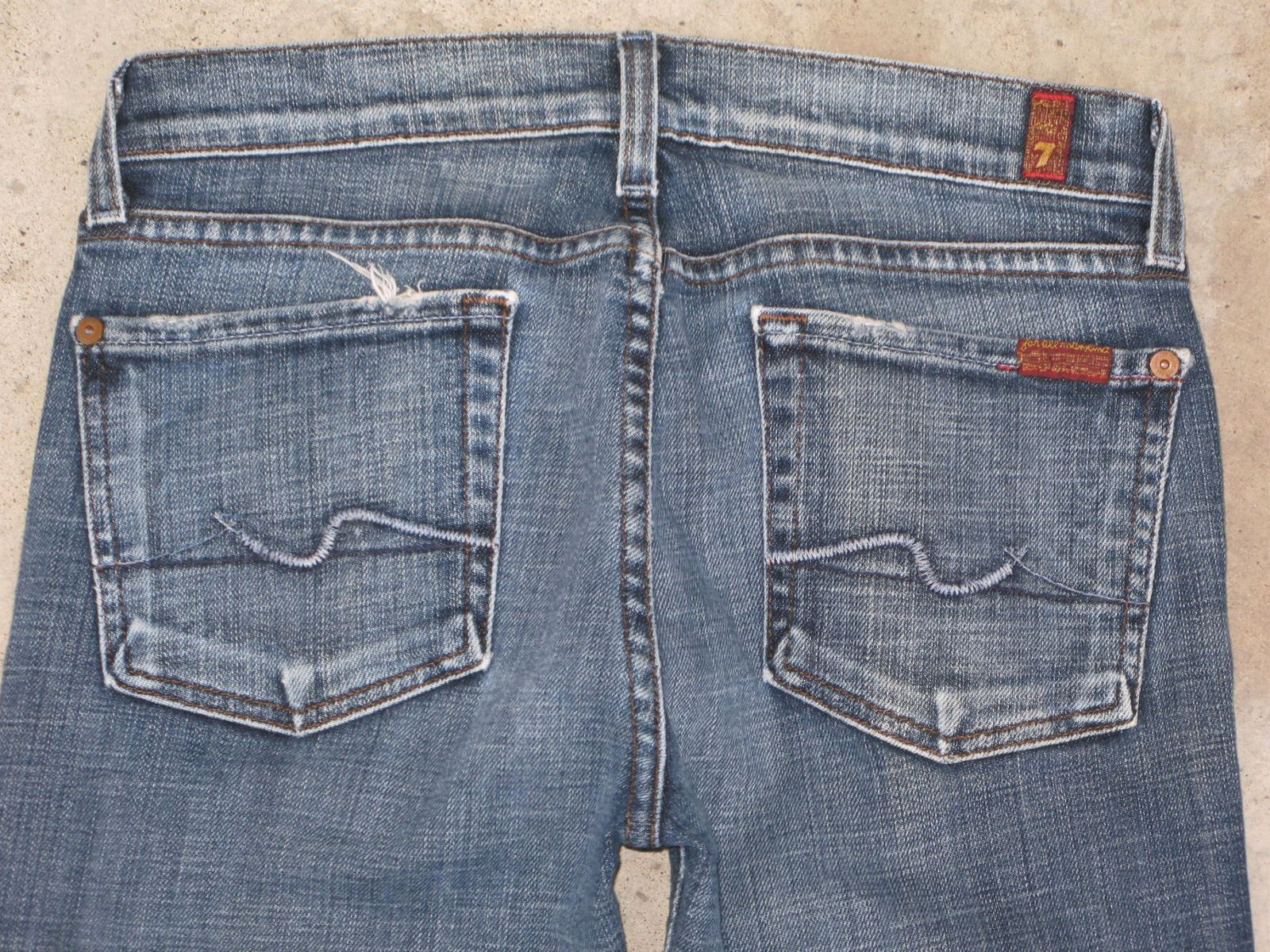 7 for all Mankind Womens Bootcut jeans Sz 28   27  Distressed w Stretch USA made