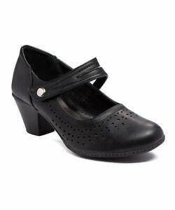 Refresh-Women-039-s-Black-London-Block-Heel-Pumps-Size-7-5-Strap-Ankle-NWOB