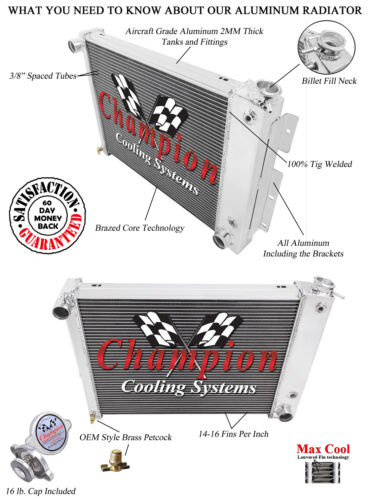 Eagle Racing 4 Row Aluminum Radiator For 1967-69 Chevy//Pontiac Cars