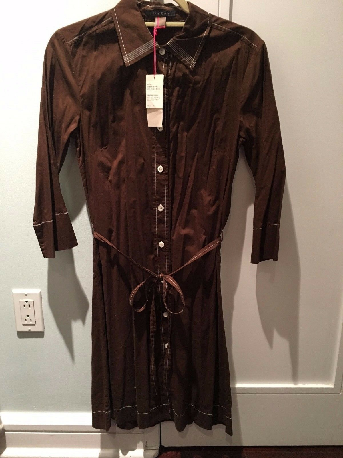ORLA KIELY-WOMEN BROWN CONTRAST STITCHED LAWN SHIRT DRESS-SIZE DRESS-SIZE DRESS-SIZE 3(MEDIUM)-NWT  c7742e