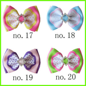 """12 BLESSING Good Girl  4.5/"""" Double Bowknot Hair Bow Clip Accessories Rhinestone"""