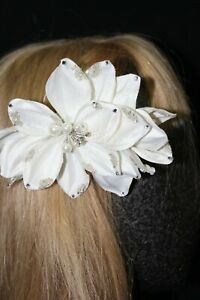 NEW Ivory flower hair piece & silver rhinestone sequins and silver beading, $79