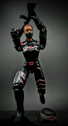 GI Joe Female Cobra Trooper Custom Noir Uniforme cheveux rouge