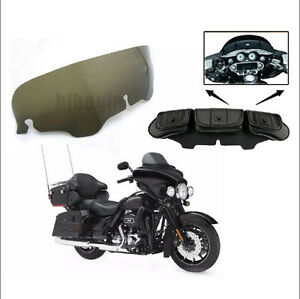 4-034-Moto-Pare-brise-amp-Sac-Sacoche-3-Poche-Pour-Harley-Touring-Electra-Street-Glide