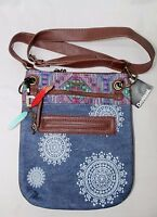 Desigual Denim African Art Print Crossbody Purse Multi-color Gg8