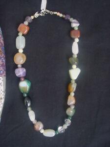 Edelstein-Kette-Mehrfarbige-Komposition-Halskette-Edelsteinkette-ca-47cm-Umfang
