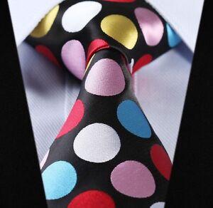 Mens-Rainbow-Polka-Dot-Black-White-Pink-Red-Gold-Tie