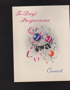 Cunard RMS Media Programme of Events April 10 1960