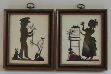Framed Matching Pair Silhouettes by Artist Blance Turner Boy Bunny & Girl Bird