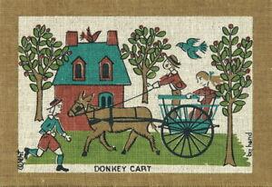 ROBERT-DARR-WERT-VTG-1950s-60s-Folk-COUNTRY-PRINT-Serigraph-on-Linen-DONKEY-CART