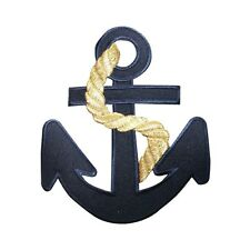 ID 5074 Navy Blue Nautical Anchor Embroidered Iron On Applique Patch