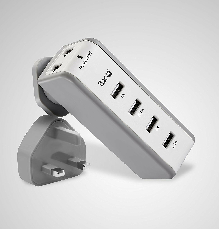 IBRA 34W 8.2 Amp 6 Port Fast Multi USB Wall Charger UK Plug Travel Power Adapter