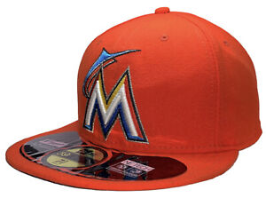 Miami Marlins New ERA 59Fifty MLB Fitted Official On-Field Cap Hat Orange 7 3/8