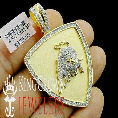 10k Gelb Gold Auf Echtes Silber Bull Kopf Anhänger Künstlicher Diamant Ebnen Einen Effekt In Richtung Klare Sicht Erzeugen
