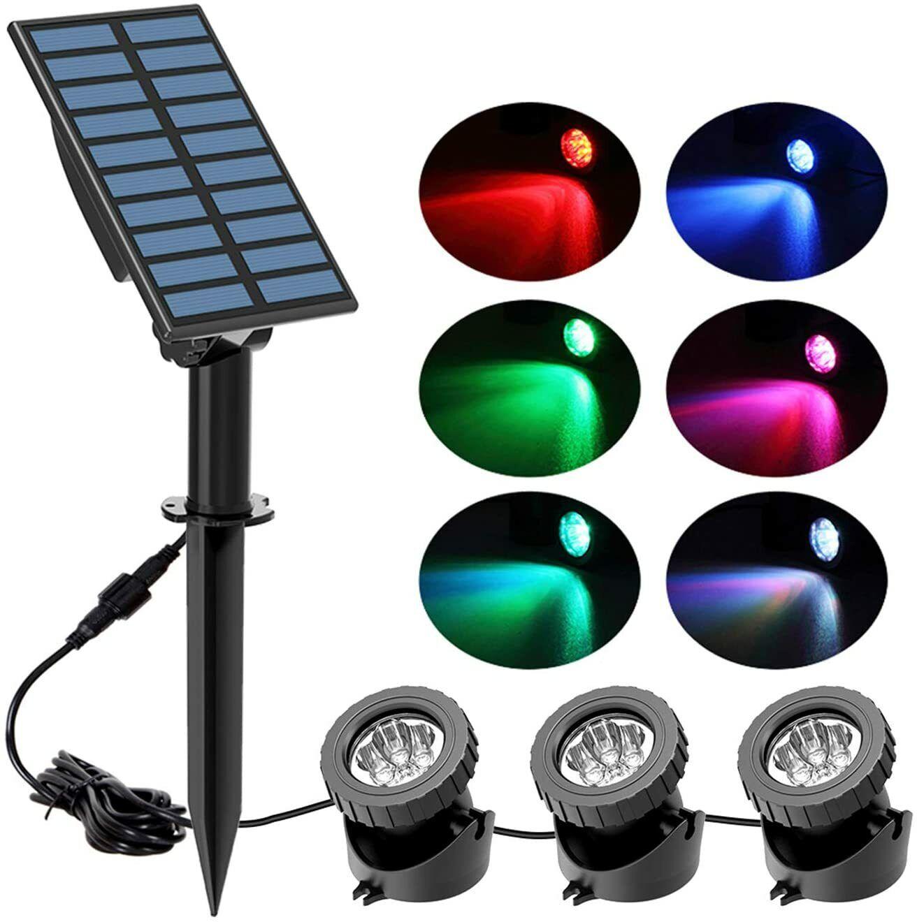 LED Solar Light RGB Changing Submersible Lamp Underwater Garden Pool Pond Lights
