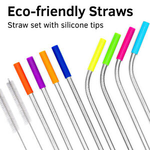 Metal Straws with silicone Tip 10 pcs with brush Stainless steel Reusable Straws