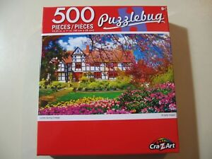 500-piece-Puzzle-Puzzlebug-Lovely-Spring-Cottage-Brand-New-and-Sealed