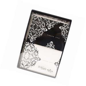 hallmark thank you notes black and ivory scroll 50 cards and