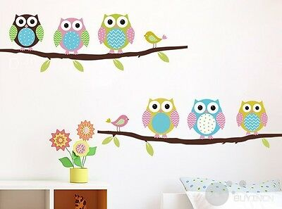 Wall Stickers Owl Birds Branch Kids Baby Nursery Room Home Decor Mural Decal