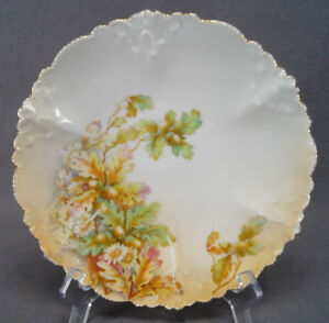 Set-of-4-Austrian-Floral-Decorated-amp-Relief-Molded-Porcelain-Luncheon-Plates