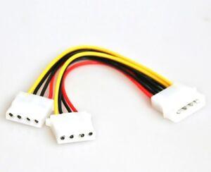 """Y-Kabel 2x 5,25"""" Molex 4pol Verteiler PC Strom intern CD DVD Stromversorgung ATX"""