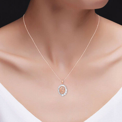 Details about  /0.05 Cttw Round Cut Diamond Mom /& Baby Oval Pendant Necklace 14K Rose Gold Over