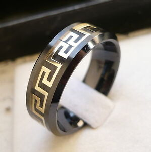 Image Is Loading 8mm Ceramic Men 039 S Black Gold Color