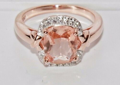 SIZE N BEAUTIFUL 9 CT ROSE GOLD ON SILVER MORGANITE /& DIAMOND COCKTAIL RING