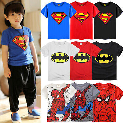 Kinder Jungen Batman Superman Spiderman T-shirt Superheld Kurzarm Sommer Tee Top
