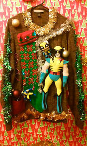 X-MEN-WOLVERINE-034-UGLY-034-Tacky-Christmas-sweater-X-LARGE-MENS-L-K-LIGHTS