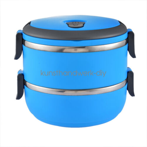 4 Layer Tier Stainless Steel Thermal Insulated Stackable Lunch Box Bento Food GW