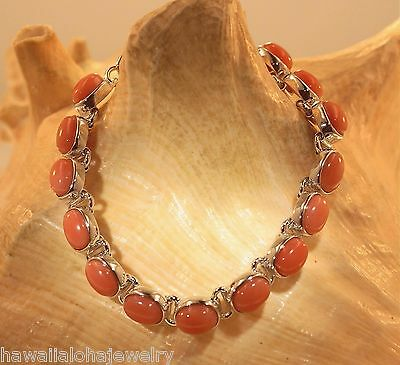 925 Sterling Silver 6X8mm 14.42Ct Oval Genuine Salmon Pink Coral Bracelet Adjust