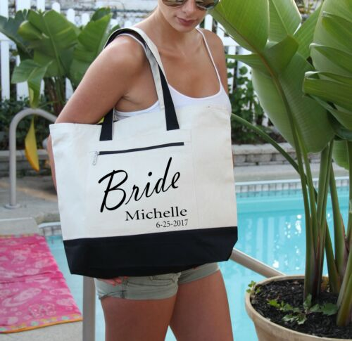 Heavy Canvas Zippered Personalized Bridal Party Bags with Name Bag